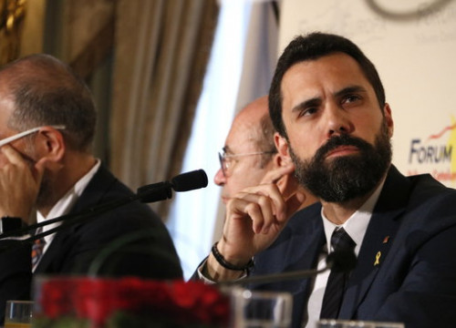 The Catalan parliament speaker Roger Torrent during an event hosted by Tribuna Europa on September 13, 2018 (by Rafa Garrido)
