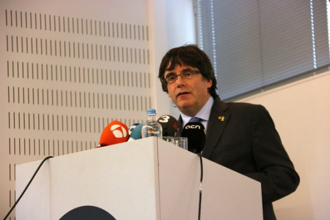 Former Catalan president Carles Puigdemont speaks at the PXL University College in Belgium (by Blanca Blay)