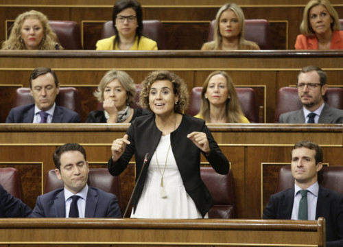 People's Party spokesperson Dolors Montserrat speaking in the Spanish Congress (by Congress)
