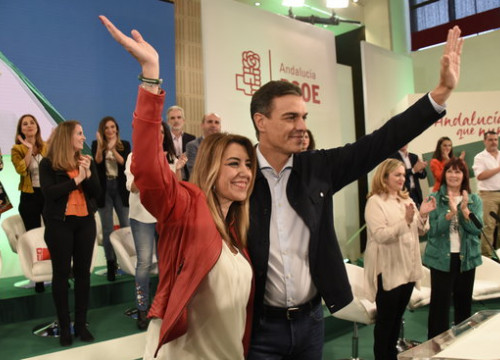 The president of Andalusia, Susana Díaz, with the Spanish president, Pedro Sánchez, on October 20, 2018 in Seville (by PSOE)