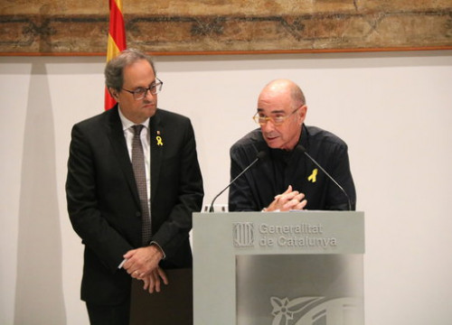 Catalan president Quim Torra (left) and former MP Lluís Llach (by ACN)