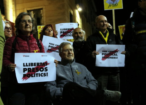 Protesters demand the release of Catalan leaders in jail (by ACN)