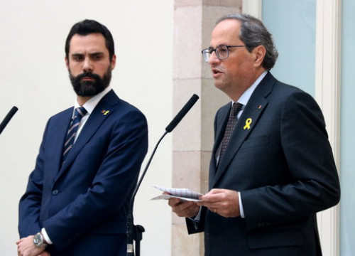 Catalan president Quim Torra and parliament speaker Roger Torrent in Parliament, November 2, 2018 (Pere Francesch)