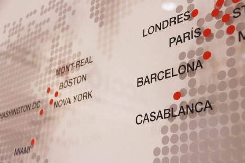 Map showing cities where Catalonia Trade & Investment offices are located