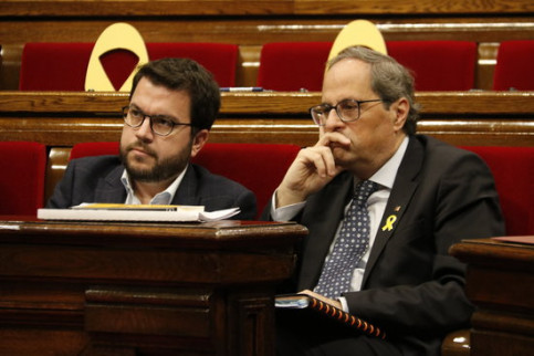 Catalan president Quim Torra (right) and vice president Pere Aragonès (by Marta Sierra)