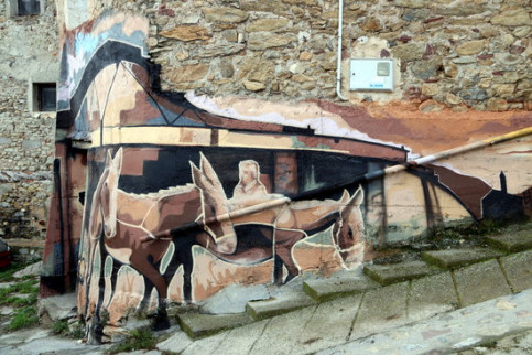 One of the murals in Arcalís, in the Catalan Pyrenees, in November 2018 (by Marta Lluvich)