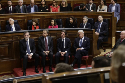 Four ex-presidents of Spain, from left to right, Rajoy, Zapatero, Aznar and González, during an event marking 40 years of the Spanish constitution, December 6, 2018 (by Congress)