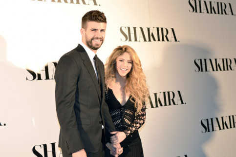 Gerard Piqué and Shakira appear at the album launch of the Colombian pop star. (Photo: Sony Music)