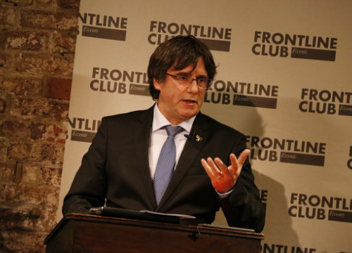 Former Catalan president Carles Puigdemont speaking at a conference in London's Frontline Club (by ACN)