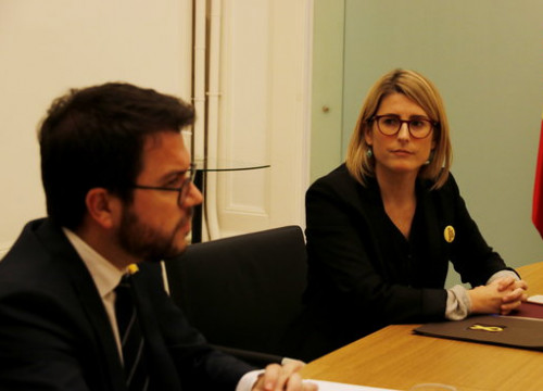 The Catalan vice president, Pere Aragonès, and the executive spokesperson, Elsa Artadi, during their meeting with Spanish ministers in Barcelona on December 20 (by Marc Bleda)