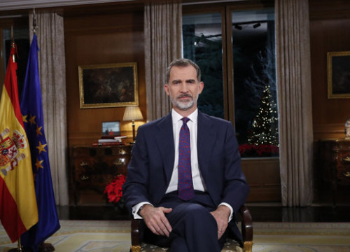 Spanish king Felipe VI during his televised speech for Christmas in 2019 (by Royal House)