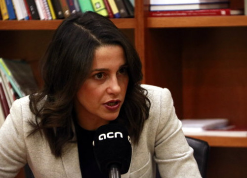 The leader of Ciutadans in Catalonia, Inés Arrimadas, during an interview with the Catalan News Agency (by Laura Fíguls)
