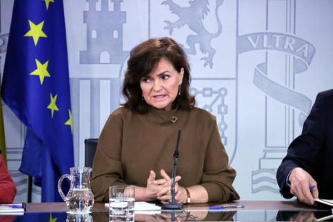 The Spanish vice president, Carmen Calvo, during a press conference on February 8, 2019 (by Roger Pi de Cabanyes)