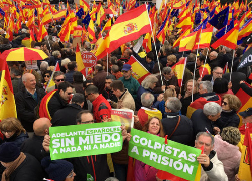 "Demonstrators in Madrid defending the ""unity of Spain"" (by Roger Pi)"