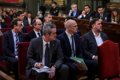 The defendants during the trial on the 2017 independence referendum, February 12, 2019 (EFE Pool)