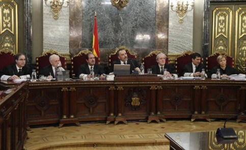 The Supreme Court judges during the Catalan trial (by Pool EFE)
