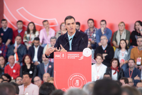 Pedro Sánchez during  a campaing event in Mérida on 17 March 2019. (by PSOE)