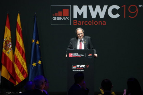 Catalan president Quim Torra speaks at the inaugural dinner of the Mobile World Congress (by ACN)