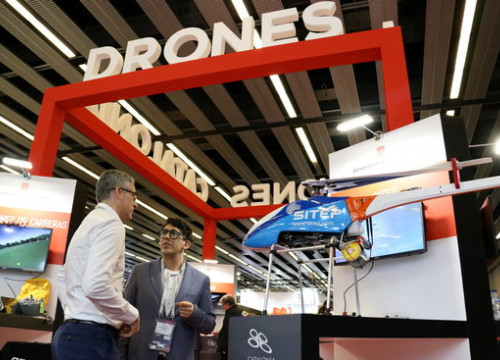 5G drones in the Catalonia stand of the 2019 Mobile World Congress, on February 25, 2019 (by Mar Vila)