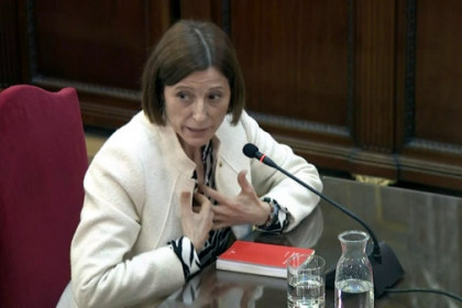 The Catalan former parliament president, Carme Forcadell, testifying in Spain's Supreme Court on February 26, 2019