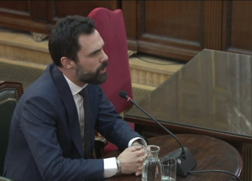 The Catalan parliament speaker Roger Torrent testifying in the independence trial