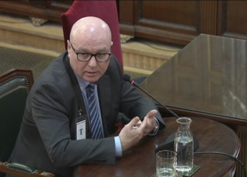 The Catalan police official Emili Quevedo, testifying before Spain's Supreme Court on March 11, 2019.