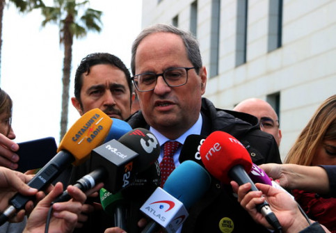 The Catalan president, Quim Torra, talking to the press on March 14, 2019 (by Mar Rovira)