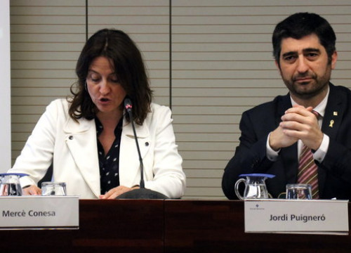 The head of the Port authoriy, Mercè Conesa, with the Catalan digital policy minister, Jordi Puigneró, on March 18, 2019 (by Lluís Sibils)