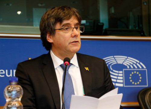 Former Catalan president Carles Puigdemont at the European Parliament (by Natàlia Segura)
