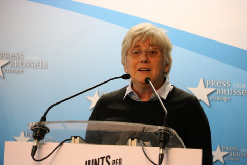 Clara Ponsatí, pictured during the European Election campaign in April, 2019 (by Natàlia Segura)