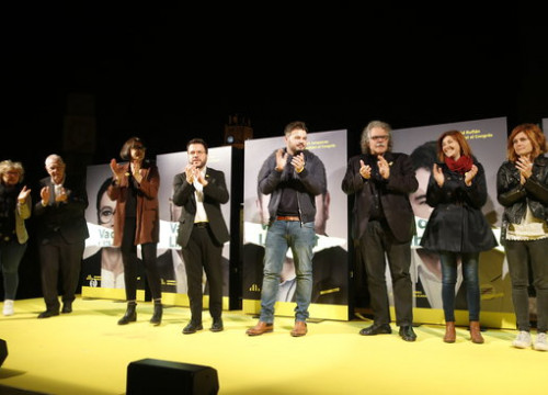 Image of the first event of Esquerra party, leading the polls in the four Catalonia constituencies, on April 12, 2019 (by Guillem Roset)
