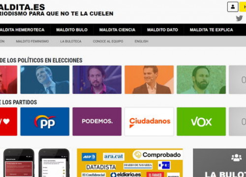 Fact checking website 'Maldita.es' with images of the main candidates in the Spanish election