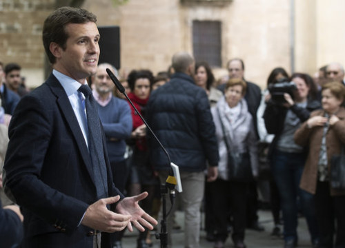 Pablo Casado at an electoral rally in Pamplona