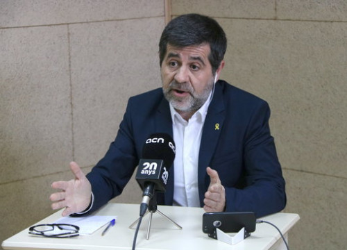 Jailed Catalan independence leader Jordi Sànchez during a press conference held from prison via video link (by Roger Pi de Cabanyes)