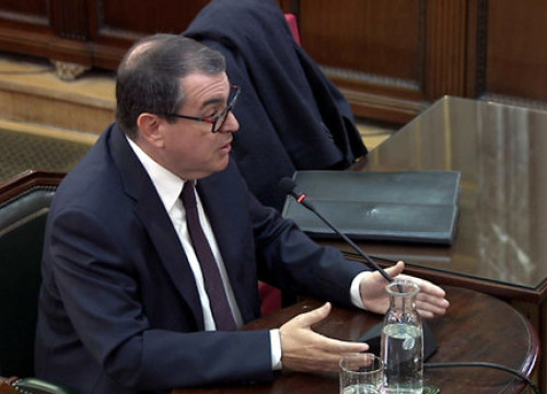 Former Catalan minister Jordi Jané testifying as witness in the Catalan trial on April 23, 2019
