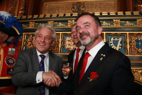 Alfred Bosch shaking hands with John Bercow at Westminster on April 23, 2019 (by Aina Martí)