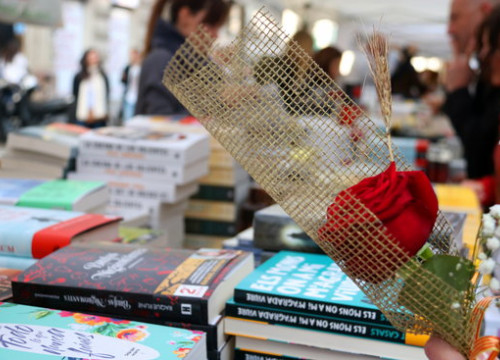 A rose and a book stall during Sant Jordi 2019 in Barcelona (by Mar Vila)