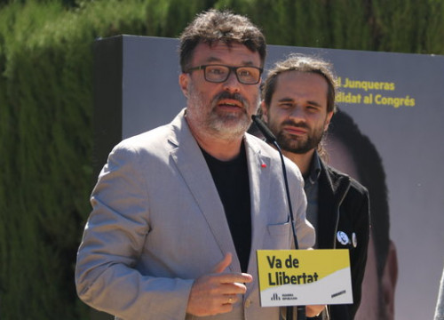 Joan Josep Nuet, MP in the Spanish Congress for ERC, during the April election campaign (by Elisenda Rosanas)