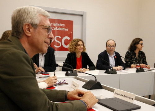 The leadership of the Catalan Socialists meeting on April 29 (by Sílvia Jardí)