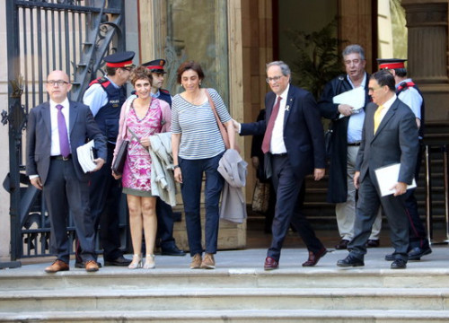 The Catalan president, Quim Torra, leaving Catalonia's high court in May 2019 after a hearing (by Pau Cortina)