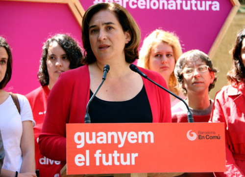 Barcelona mayor up for reelection, Ada Colau, at a campaign event. (Photo: Nazaret Romero)