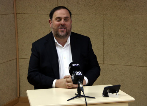 Oriol Junqueras during a press conference live streamed while he was in prison (by Andrea Zamorano)