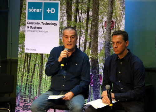Sónar festival directors Ricard Robles and Ventura Barba at the presentation of this year's festival. (Photo: Pau Cortina)