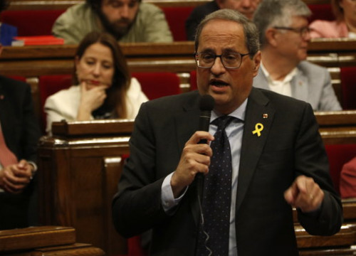 The Catalan president, Quim Torra, in a parliamentary plenary session on May 29, 2019 (by Guillem Roset)