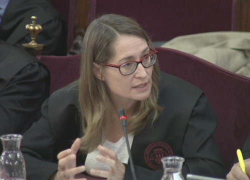 Activist Jordi Cuixart's lawyer, Marina Roig, in the Catalan trial on June 12, 2019