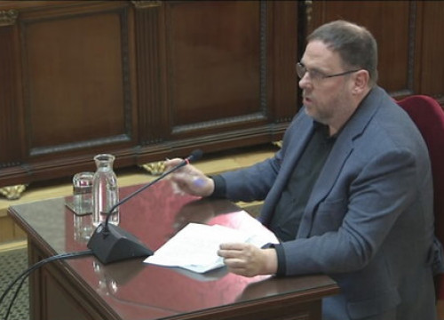 Oriol Junqueras sitting in the Supreme Court on the final day of the Catalan Trial. (Photo: Supreme Court)