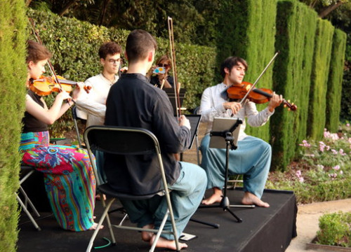 A string quartet play at the inauguration of the 2019 Grec Festival (by Pere Francesch)