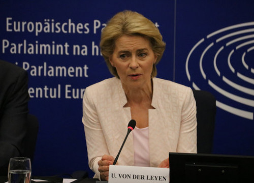 Image of the next European Commission president, Ursula von der Leyen, on July 16, 2019  (by Natàlia Segura)