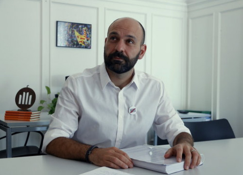 The vicepresident of Òmnium, Marcel Mauri, during an interview with the Catalan News Agency in July 2017 (by Rafa Garrido)