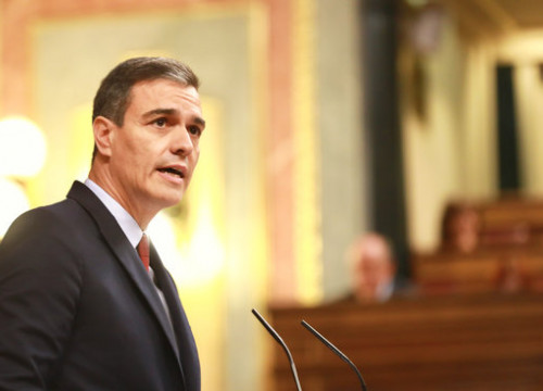 Image of Pedro Sánchez during his opening statement in his bid for Spanish president (by Inma Mesa/PSOE)